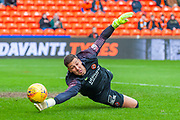Benjamin Siegrist (#1) of Dundee United FC tips the ball round the post during the William Hill Scottish Cup quarter final match between Dundee United and Inverness CT at Tannadice Park, Dundee, Scotland on 3 March 2019.