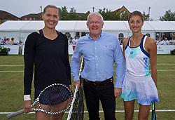 LIVERPOOL, ENGLAND - Sunday, June 23, 2019: Kaia Kanepi (EST) (L) and Corinna Dentoni (ITA) (R) with xxxx before the Ladies' Final on Day Four of the Liverpool International Tennis Tournament 2019 at the Liverpool Cricket Club. (Pic by David Rawcliffe/Propaganda)