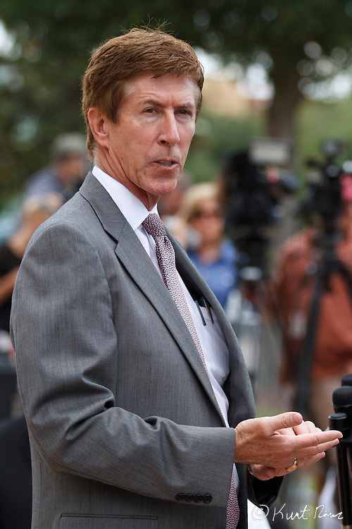 April 20, 2012 - Sanford, Florida, U.S. - Defense attorney MARK O'MARA  talks during a press conference after George Zimmerman's bond was set to $150,000 for the murder of Trayvon Martin at the Sanford Criminal Justice Center in Sanford, Florida.