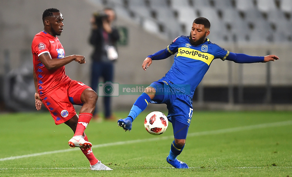 Cape Town-180804 Cape Town City midfielder Riyaad Norodien challenged by Onismor Bhasera of Supersport in the first game of the 2018/2019 season at Cape Town Stadium.photograph:Phando Jikelo/African News Agency/ANAr