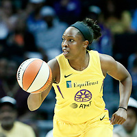 LOS ANGELES, CA - JUN 30: Chelsea Gray (12) of the Los Angeles Sparks brings the ball up court during a game on June 30, 2019 at the Staples Center, in Los Angeles, California.