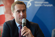 Adam Krzesinski - General Secretary of Polish Olympic Committee during press conference before National Day of Sport 2013 at Olympic Centre in Warsaw on October 17, 2013.<br /> <br /> Poland, Warsaw, October 17, 2013<br /> <br /> Picture also available in RAW (NEF) or TIFF format on special request.<br /> <br /> For editorial use only. Any commercial or promotional use requires permission.<br /> <br /> Mandatory credit:<br /> Photo by &copy; Adam Nurkiewicz / Mediasport