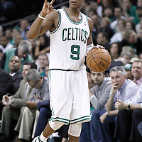 14 May 2012: Boston Celtics point guard Rajon Rondo (9) calls a play during the Philadelphia Sixers 82-81 victory over the Boston Celtics, in Game 2 of the Eastern Conference semifinals playoff series, at the TD Banknorth Garden, Boston, Massachusetts, USA.