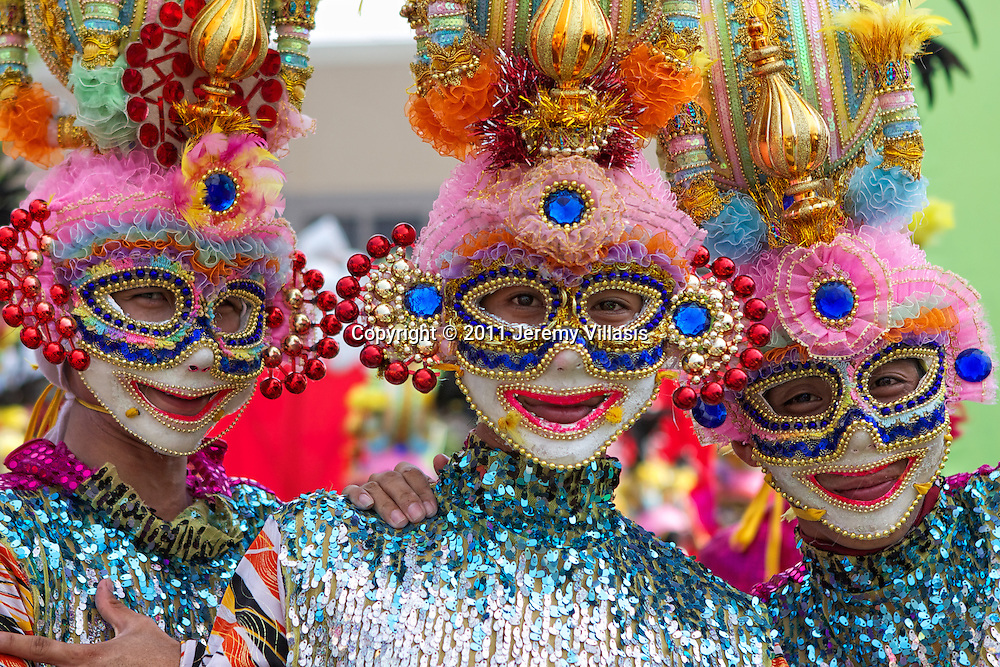 Young boys in a colorful costumes during the 32nd Masskara Festival in Bacolod City, the Philippines.