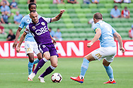 MELBOURNE, VIC - MARCH 03: Perth Glory defender Ivan Franjic (5) makes an attempt to release the ball at the round 21 Hyundai A-League soccer match between Melbourne City FC and Perth Glory on March 03, 2019 at AAMI Park, VIC. (Photo by Speed Media/Icon Sportswire)