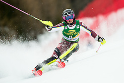 "Frida Hansdotter (SWE) in action during 1st Run of the FIS Alpine Ski World Cup 2017/18 7th Ladies' Slalom race named ""Golden Fox 2018"", on January 7, 2018 in Podkoren, Kranjska Gora, Slovenia. Photo by Ziga Zupan / Sportida"