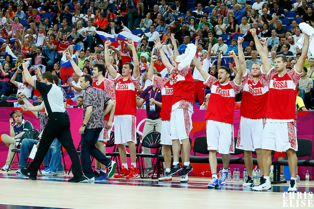 08 August 2012: Team Russia players react on the bench during 83-74 Team Russia victory over Team Lithuania, during the men's basketball quarter-finals, at the 02 Arena, in London, Great Britain.