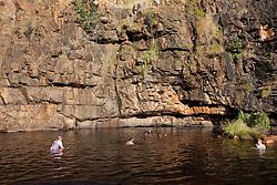 Tourist enjoy a freshwater swim at Ruby Falls near Red Cone Creek.