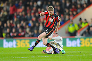 AFC Bournemouth midfielder Eunan O'Kane is tackled by Everton midfielder Ross Barkley during the The FA Cup match between Bournemouth and Everton at the Goldsands Stadium, Bournemouth, England on 20 February 2016. Photo by Graham Hunt.