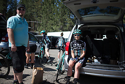 A Drops Cycling Team rider prepares for the the first, 117 km road race stage of the Amgen Tour of California - a stage race in California, United States on May 19, 2016 in South Lake Tahoe, CA.
