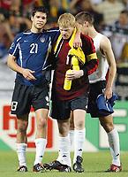 Fotball. VM 2002. 21.06.2002.<br /> Kvartfinale.<br /> Tyskland v USA 1-0.<br /> Michael Ballack og Oliver Kahn. <br /> Foto: Uwe Speck, Digitalsport