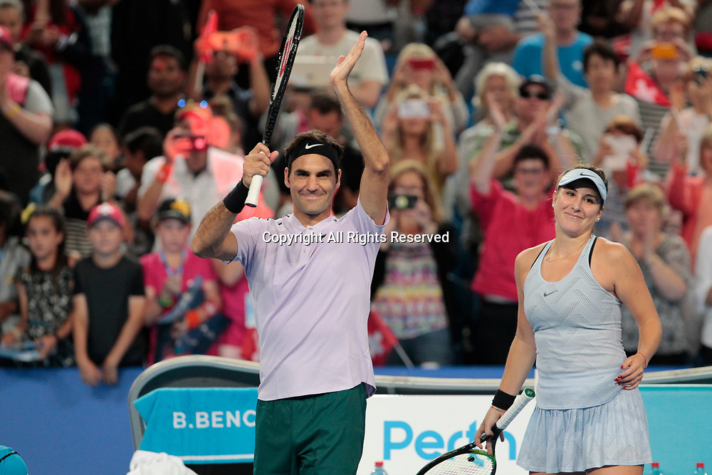 6th January 2018, Perth Arena, Perth, Australia; MasterCard Hopman Cup Tennis Final; Roger Federer and Belinda Bencic of Team Switzerland wave to the crowd after they defeated Germany 2 sets to 0 in the Hopman Cup