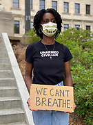 """May 29, 2020 Jackson, MS<br /> A small group of protestors for Black Lives Matter and ACAB gathered at the Mississippi State Capitol to protest the brutal murder of George Floyd by white police officers in Minnesota. The protestors did not want to speak to the press and chanted black lives matter, no justice no peace-and justice for George Floyd. A few were wearing masks that said """"I can't breathe"""" and one protestor wore a shirt that said """"unarmed civilian and a mask We can't Breathe"""". Some of the protestors carried signs with ACAB written on them it stands for All Cops Are Bad or Bastards. Protests broke out across America in defense of George Floyds killing in Minneapolis Minnesota by white police officers and police brutality and white supremacy in America. Photo ©Suzi Altman #racism #blm #georgefloyd #mississippi #minnesota #change #protest #acab #blacklivesmatter #minneapolis #chage #policebrutality #whitesupremacy #unarmedcivilian"""