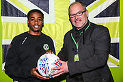 Man of the match Forest Green Rovers Reece Brown(10) with the match ball sponsor during the EFL Sky Bet League 2 match between Forest Green Rovers and Lincoln City at the New Lawn, Forest Green, United Kingdom on 2 March 2019.