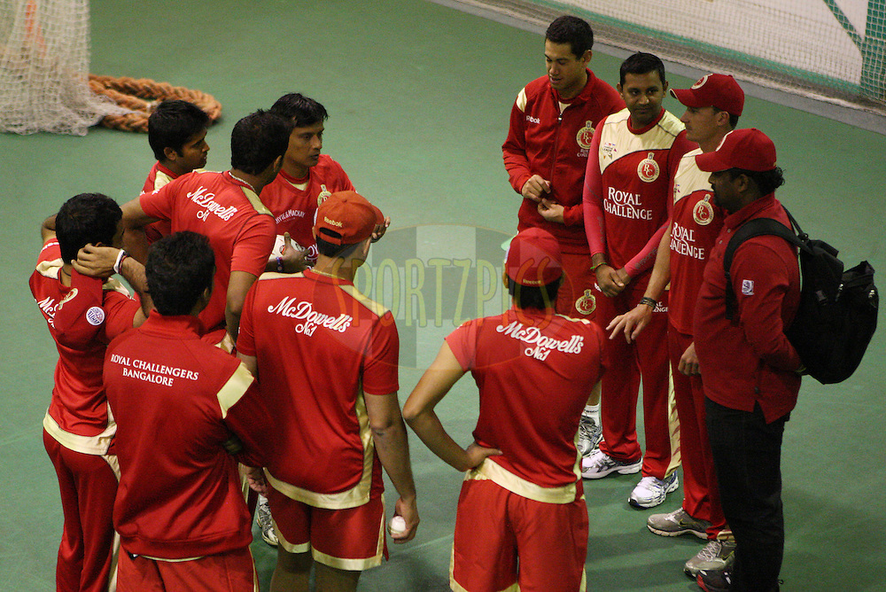 Team talk during the Royal Challengers Bangalore training session held at Kingsmead Stadium in Durban on the 16 September 2010..Photo by: Steve Haag/SPORTZPICS/CLT20.