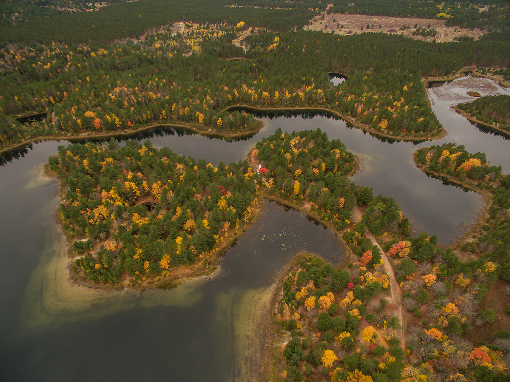Aerial shot of Kingston Lakes during fall on Michigan's Upper Peninsula.
