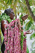 The Duke Kahanamoku statue in Waikiki, Hawaii draped with colorful lei.