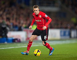 CARDIFF, WALES - Tuesday, February 11, 2014: Cardiff City's Craig Noone in action against Aston Villa during the Premiership match at the Cardiff City Stadium. (Pic by David Rawcliffe/Propaganda)