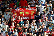 Liverpool fans during the Barclays Premier League match between Stoke City and Liverpool at the Britannia Stadium, Stoke-on-Trent, England on 9 August 2015. Photo by Alan Franklin.