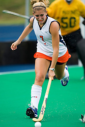 August 29, 2008 - CHARLOTTESVILLE, VA -  Virginia Cavaliers forward Kaitlyn Hiltz (7) in action against W&M.  The Virginia Cavaliers field hockey team defeated the William and Mary Tribe 5-0 on the University Hall Turf Field on the Grounds of the University of Virginia in Charlottesville, VA.