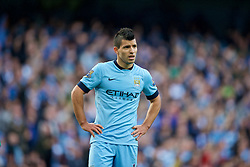 MANCHESTER, ENGLAND - Sunday, November 2, 2014: Manchester City's Sergio Aguero in action against Manchester United during the Premier League match at the City of Manchester Stadium. (Pic by David Rawcliffe/Propaganda)