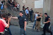 Roma, 12  Luglio 2012. Attivisti dei comitati «Acqua pubblica» occupano con un sit-in la scalinata di accesso a Palazzo Senatorio per protestare contro la cessione del 21% della controllata Acea, l'azienda che si occupa di acqua e servizi.Le forze dell'ordine  sgomberano la scalinata