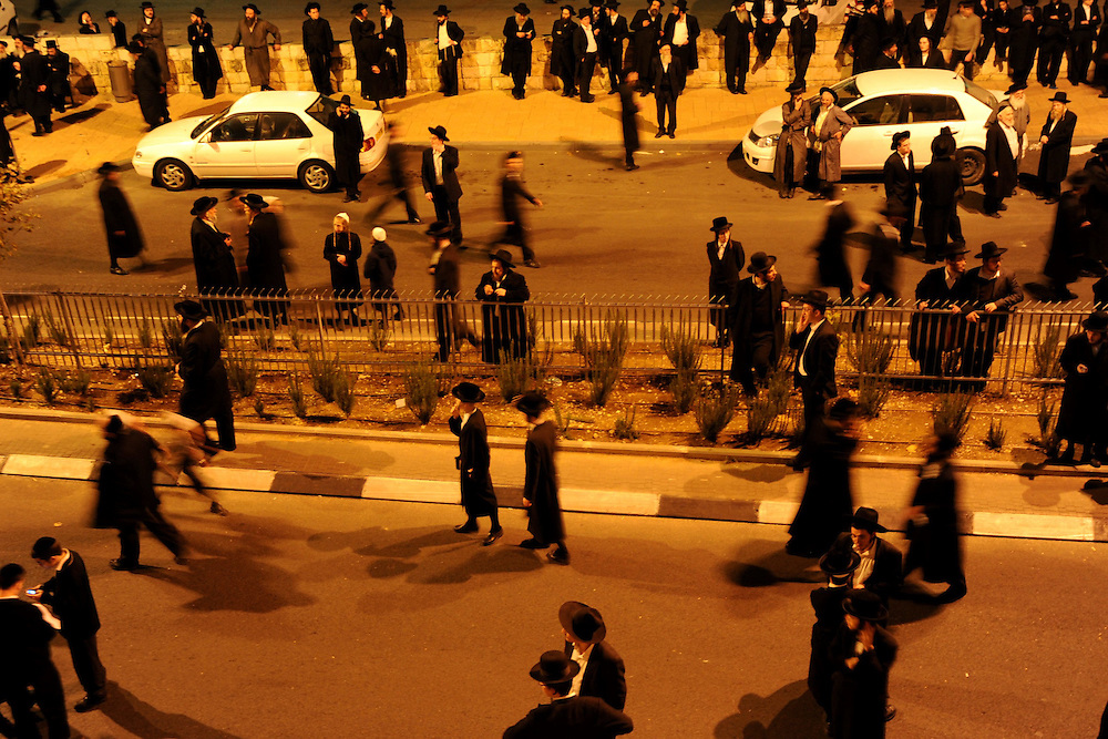 Ultra-Orthodox Jewish men are demonstrating near Intel Corp's electronic chip plant in Jerusalem December 27, 2009. Thousands of Ultra-orthodox Jews demonstrated on against the operation of the plant on the Jewish Sabbath.