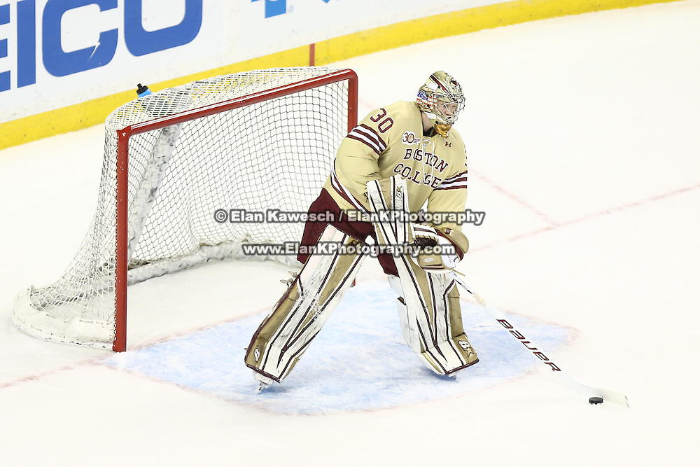 Thatcher Demko #30 of the Boston College Eagles clears the puck during The Beanpot Championship Game at TD Garden on February 10, 2014 in Boston, Massachusetts. (Photo by Elan Kawesch)
