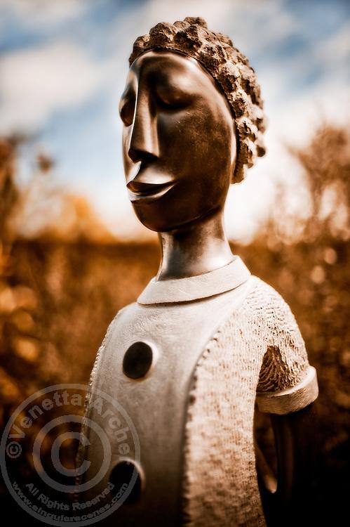 Zimsculpt at Van Dusen Botanical Garden: Walking On By - springstone sculpture by Norbert Shamuyarira (original sculpture available at www.zimsculpt.com)