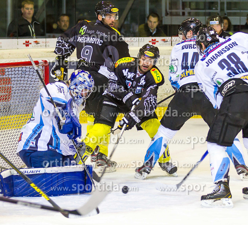 21.09.2012. Messestadion, Dornbirn, AUT, EBEL, Dornbirner EC vs SAPA Feherva AV19, 5. Runde, im Bild Adam Munro, (SAPA Feherva AV19, #51), Jakob Andrew Kozek, (Dornbirner EC, #10) und Jura Durch, (SAPA Feherva AV19, #44) during the Erste Bank Icehockey League 5nd round match between Dornbirner EC and SAPA Feherva AV19 at the Exhibition Stadium, Dornbirn, Austria on 2012/09/21, EXPA Pictures © 2012, PhotoCredit: EXPA/ Peter Rinderer