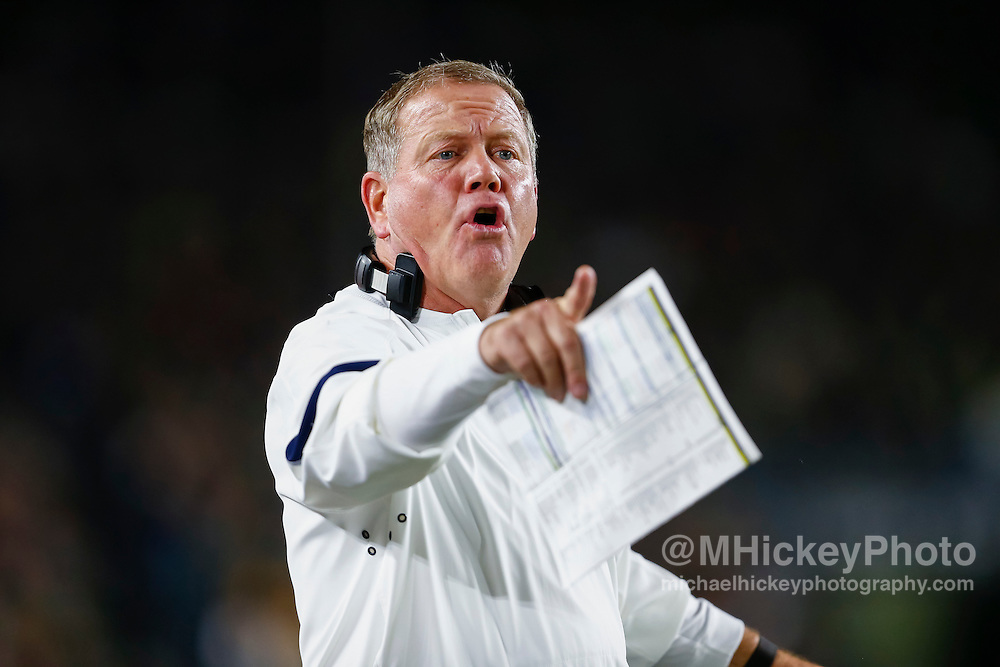 SOUTH BEND, IN - OCTOBER 15: Head coach Brian Kelly of the Notre Dame Fighting Irish is seen during the game against the Stanford Cardinal at Notre Dame Stadium on October 15, 2016 in South Bend, Indiana. Stanford defeated Notre Dame 17-10. (Photo by Michael Hickey/Getty Images) *** Local Caption *** Brian Kelly