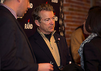 Senator Rand Paul speaks with supporters at the Belknap Mill Monday evening.  (Karen Bobotas/for the Laconia Daily Sun)