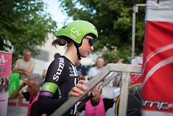 Eventual winner, Leah Kirchmann (CAN) of Liv-Plantur Cycling Team walks onto the start ramp at the Giro Rosa 2016 - Prologue. A 2 km individual time trial in Gaiarine, Italy on July 1st 2016.