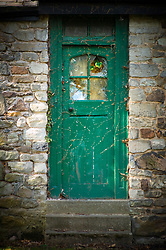 Old green door, Cavendish House, Abbey Park, Leicester, England, UK.