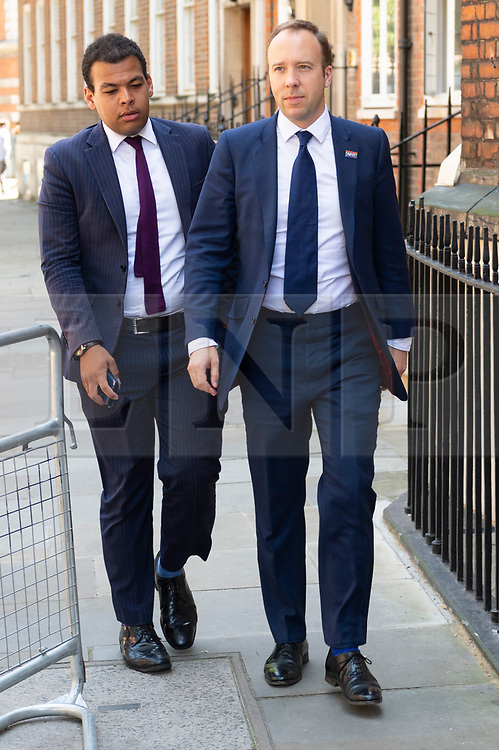 © Licensed to London News Pictures. 23/07/2019. London, UK. Health Secretary Matt Hancock visits Conservative Party leader candidate Boris Johnson MP campaign HQ in Westminster. Photo credit: Ray Tang/LNP