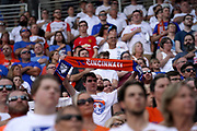 FC Cincinnati fans pause during the National Anthem prior to the MLS soccer match between FC Cincinnati and D.C. United, Thursday, July 18, 2019, in Cincinnati, OH. D.C. United defeated FC Cincinnati 4-1. (Jason Whitman/Image of Sport)
