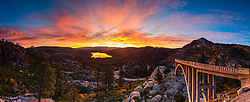 """Sunrise at Rainbow Bridge 6"" - This fiery sunrise was photographed at Rainbow Bridge, also called Donner Summit Bridge, above Old hwy 40, Donner Lake, and Truckee, California."