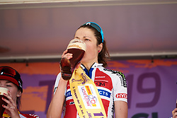 Vita Heine (NOR) takes a swig of local beer at Lotto Thüringen Ladies Tour 2019 - Stage 3, a 97.8 km road race in Dörtendorf, Germany on May 30, 2019. Photo by Sean Robinson/velofocus.com