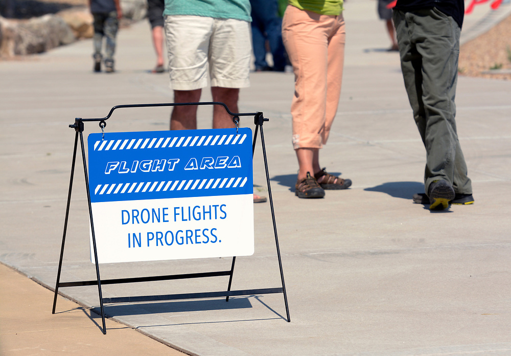 gbs062517d/ASEC - Signs warn of flying drones at the Drone Discovery Day at the Anderson Abruzzo Albuquerque International Balloon Museum on Sunday, June 25, 2017. (Greg Sorber/Albuquerque Journal)