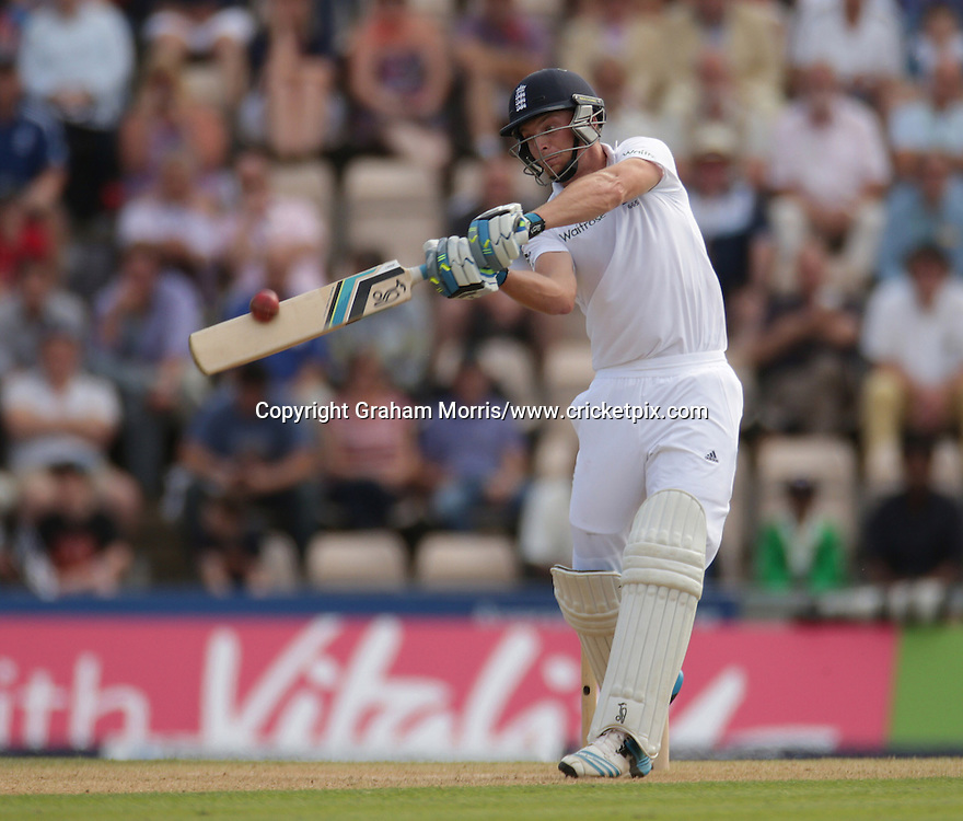 Jos Buttler bats (six) during his 85 on debut during the third Investec Test Match between England and India at the Ageas Bowl, Southampton. Photo: Graham Morris/www.cricketpix.com (Tel: +44 (0)20 8969 4192; Email: graham@cricketpix.com) 28/07/14