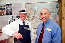 Andre Birckett Manager of Chatsworth Farm Shop with head Butcher Paul Neale..10  May 2012.Image © Paul David Drabble