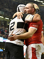 Rugby Union - 2019 / 2020 season - Wales vs. Barbarians<br /> <br /> Ken Owens of Wales  celebrates scoring with Rory Best of the Barbarians , at The Principality (Millennium) Stadium.<br /> <br /> COLORSPORT/WINSTON BYNORTH