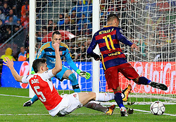 Arsenal's Gabriel Paulista slide tackles Neymar of Barcelona  - Mandatory byline: Matt McNulty/JMP - 16/03/2016 - FOOTBALL - Nou Camp - Barcelona,  - FC Barcelona v Arsenal - Champions League - Round of 16