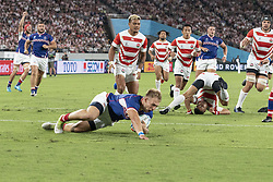 September 20, 2019, Tokyo, Japan: Russia's Kirill Golosnitskiy dives and scores a try during the Rugby World Cup 2019 Pool A match-up between Japan and Russia at Tokyo Stadium. Japan defeats Russia 30-10. (Credit Image: © Rodrigo Reyes Marin/ZUMA Wire)