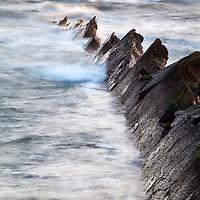 Jagged Rocks in Rough Seas at St Monans East Neuk of Fife Scotland