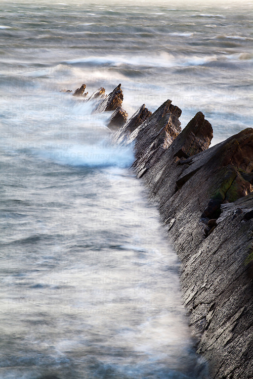 Jagged Rocks in Rough Seas at St Monans East Neuk of Fife Scotland
