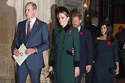 © Licensed to London News Pictures. 11/11/2018. London, UK. The Duke of Cambridge, The Duchess of Cambridge, The Duke of Sussex and Meghan, Duchess Sussex  attend a Westminster Abbey Service to mark the Centenary of the Armistice ending World War I. Photo credit: Ray Tang/LNP