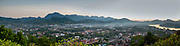 High angle panorama of the Mekong River and Luang Prabang, Laos, from Mount Phousi.