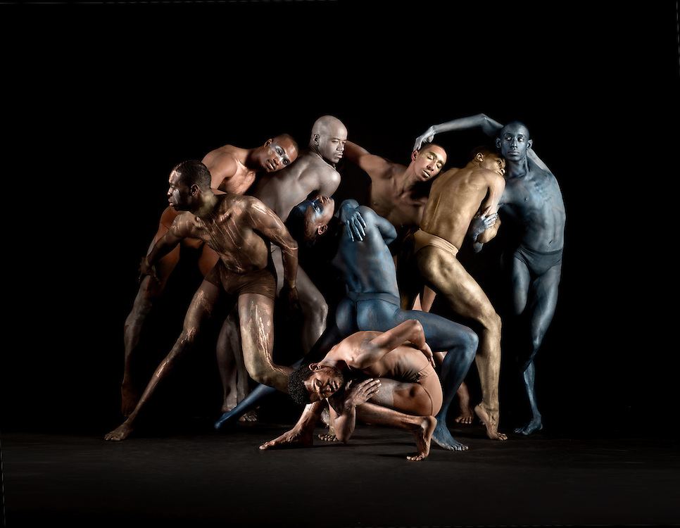 A group of male contemporary dancers with body paint on, taken in a photo studio. Photography by Rachel Neville in New York City.