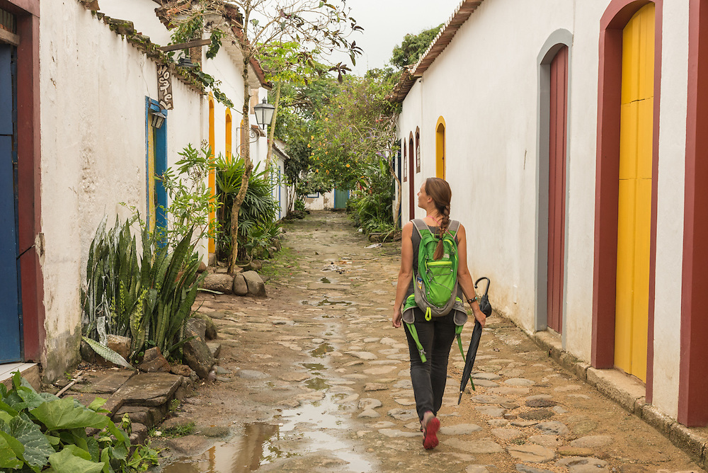 Walking the cobblestone streets of Paraty, Brazil.